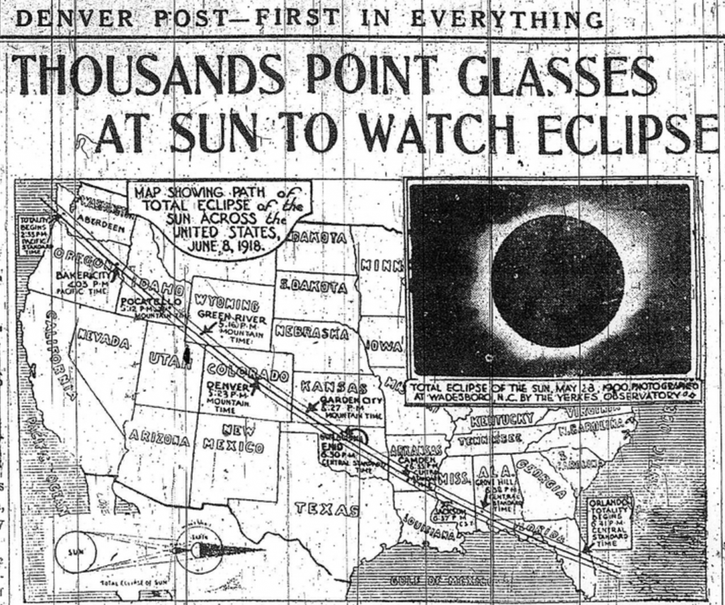 Thousands came to the 1918 solar eclipse