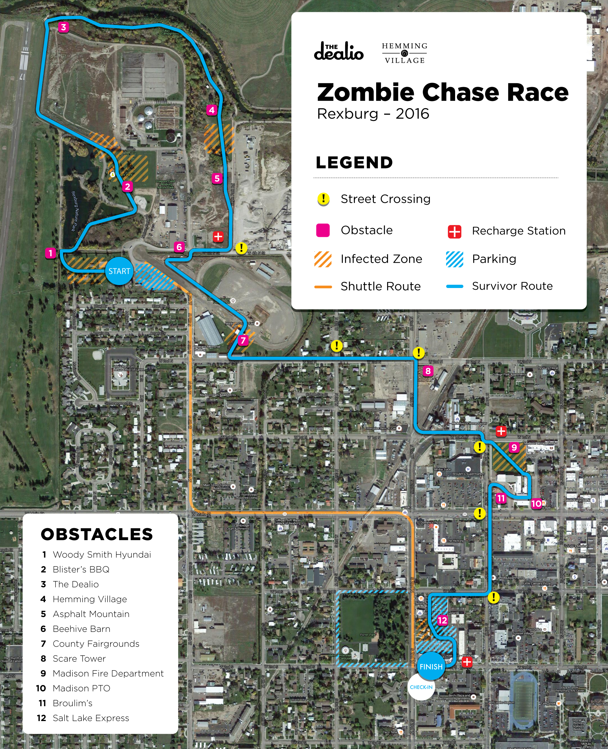 Course map for Zombie Chase Race 2016